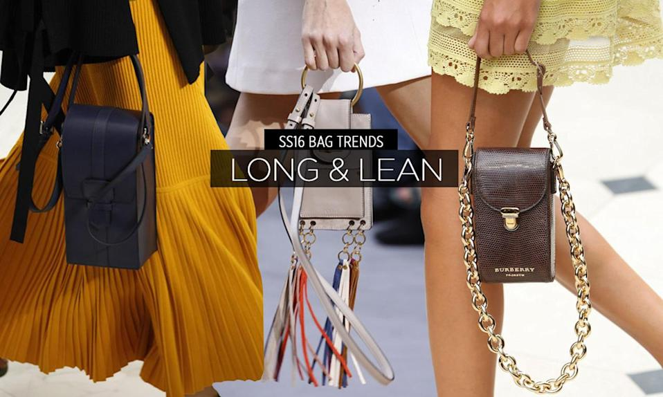 <p>Some call it a phone bag, others the camera bag, or even a long clutch. Whatever you call it, we like it. Our favorite styles include the cross body from Salvatore Ferragamo, the chic pouch from Saint Laurent, and the top-handled beauty by Chloé. </p>