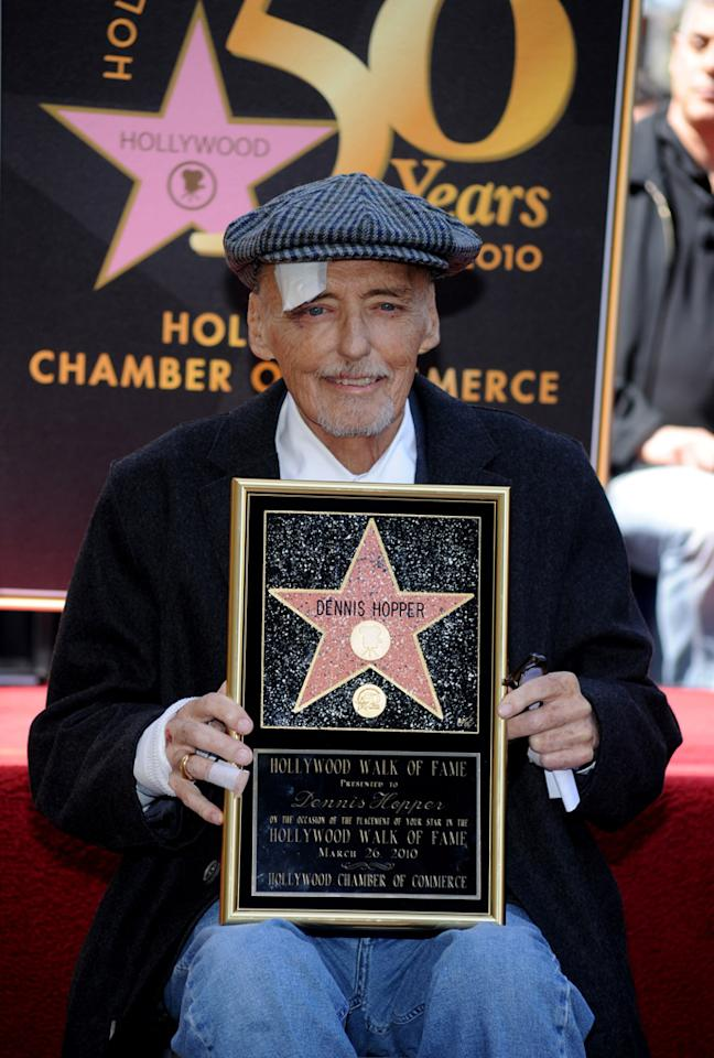 Dennis Hopper's last public appearance was on March 26, 2010 when he received a star on the Hollywood Walk of Fame. Many of his fans and former collaborators were in attendance, including Jack Nicholson, David Lynch, and Viggo Mortensen, along with his children and grandchildren.   If you have a favorite role or memory of Dennis Hopper's, please share it in the comments below.