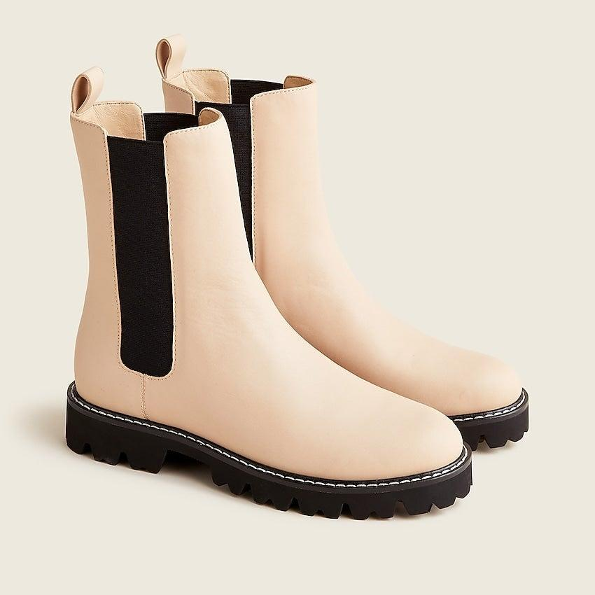 """<br><br><strong>J. Crew</strong> Gwen lug-sole high-shaft Chelsea boots in leather, $, available at <a href=""""https://go.skimresources.com/?id=30283X879131&url=https%3A%2F%2Fwww.jcrew.com%2Fp%2Fwomens%2Fcategories%2Fshoes%2Fboots%2Fgwen-lug-sole-high-shaft-chelsea-boots-in-leather%2FBA187%3Fdisplay%3Dstandard%26fit%3DClassic%26color_name%3Ddark-beechwood%26colorProductCode%3DBA187"""" rel=""""nofollow noopener"""" target=""""_blank"""" data-ylk=""""slk:J. Crew"""" class=""""link rapid-noclick-resp"""">J. Crew</a>"""