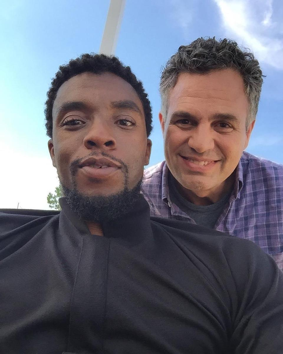 """<p>Ruffalo snapped this shot of him and Chadwick """"Black Panther"""" Boseman on June 13. """"Really excited to be working with Chadwick,"""" Ruffalo wrote. """"If you haven't seen the new <a href=""""https://www.instagram.com/explore/tags/blackpanther/"""" rel=""""nofollow noopener"""" target=""""_blank"""" data-ylk=""""slk:#BlackPanther"""" class=""""link rapid-noclick-resp"""">#BlackPanther</a> teaser yet, you gotta!"""" (Photo: <a href=""""https://www.instagram.com/p/BVSnIKAl8N4/"""" rel=""""nofollow noopener"""" target=""""_blank"""" data-ylk=""""slk:markruffalo/Instagram"""" class=""""link rapid-noclick-resp"""">markruffalo/Instagram</a>) </p>"""
