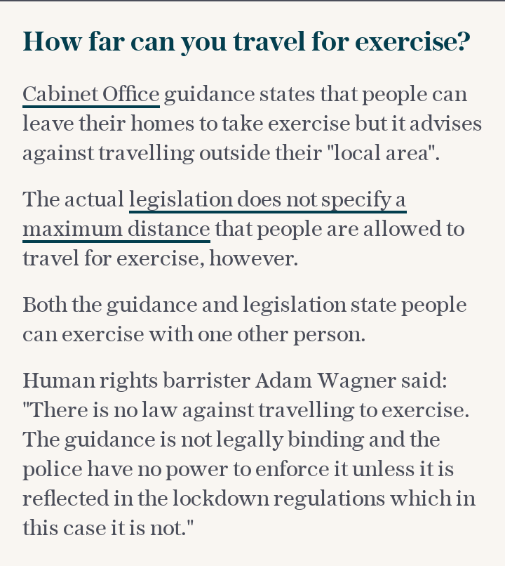 How far can you travel for exercise?