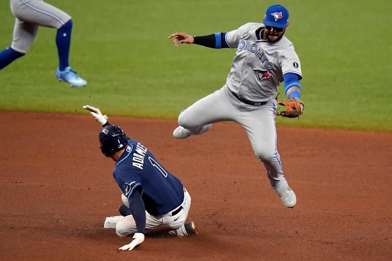Tampa Bay Rays' Willy Adames (1) steals second base as Toronto Blue Jays' Jonathan Villar fields a high throw during the fourth inning of Game 1 of a wild card series playoff baseball game Tuesday, Sept. 29, 2020, in St. Petersburg, Fla. (AP Photo/Chris O'Meara)