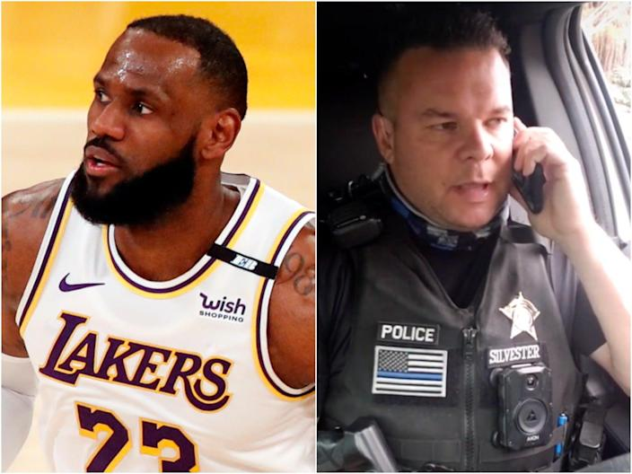 A gofundme has raised over $460,000 for Deputy Marshal Nate Silvester after he mocked Lebron James in a TikTok.  (EPA/Nate Silvester/TikTok)