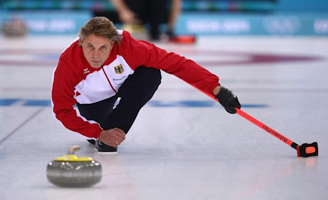 SOCHI, RUSSIA - FEBRUARY 09: John Jahr of Germany in action during curling training on day 2 of the Sochi 2014 Winter Olympics at the Ice Cube Curling Centre on February 9, 2014 in Sochi, Russia. (Photo by Clive Mason/Getty Images)