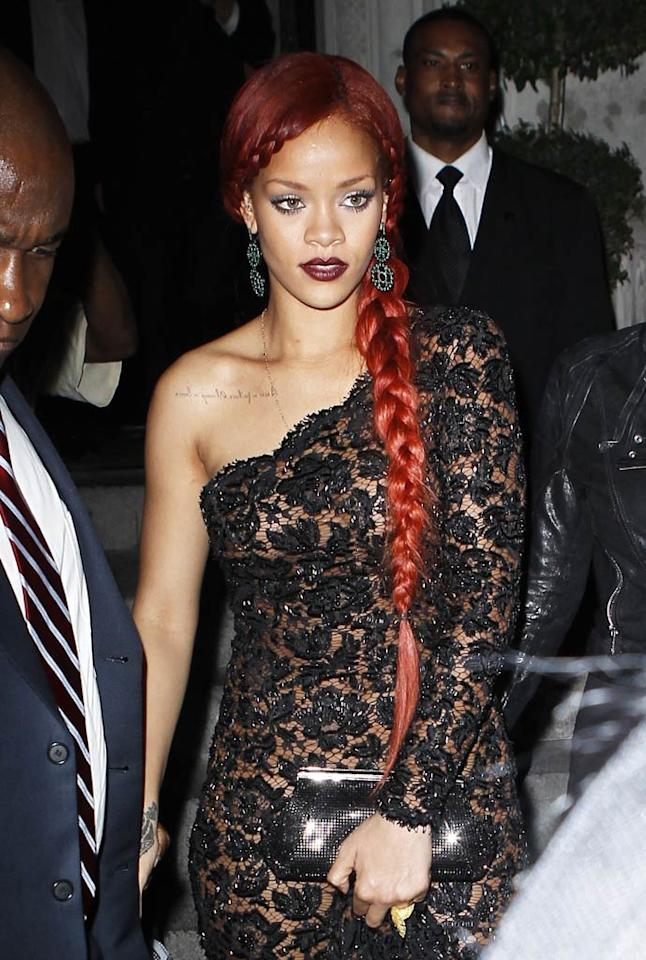 """Rihanna is just one of many celebs who has a tattoo addiction. The """"S&M"""" singer is said to have 15 tattoos, including this one underneath her right collarbone, which reads: """"Never a failure, always a lesson."""" According to her preferred tattoo artist Keith """"Bang Bang"""" McCurdy, RiRi requested this particular tat because in her life, instead of considering things to be mistakes, she considers them to be lessons. <a href=""""http://www.infdaily.com"""" target=""""new"""">INFDaily.com</a> - May 2, 2011"""