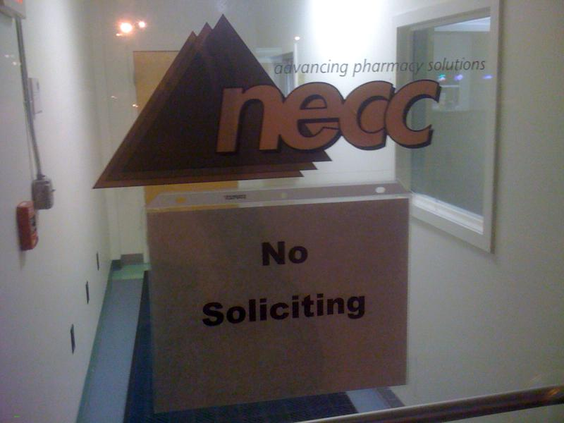 A sign on the door to the New England Compounding Center requests no soliciting at the Framingham, Mass. company, Wednesday Oct. 3, 2012.  An outbreak of a rare and deadly form of meningitis has now sickened 26 people in five states who received steroid injections mostly for back pain, health officials said Wednesday. The Food and Drug Administration identified the maker of the steroid as New England Compounding Center, a specialty pharmacy. (AP Photo/Bob Salsberg)