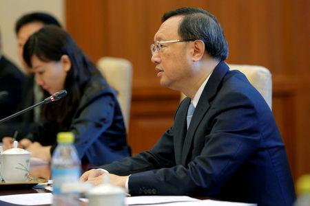FILE PHOTO -  Chinese State Councillor Yang Jiechi speaks during a meeting with Japanese national security council chief Shotaro Yachi (not pictured) at the Diaoyutai State Guesthouse in Beijing, China, August 25, 2016. REUTERS/Wu Hong/Pool/File Photo