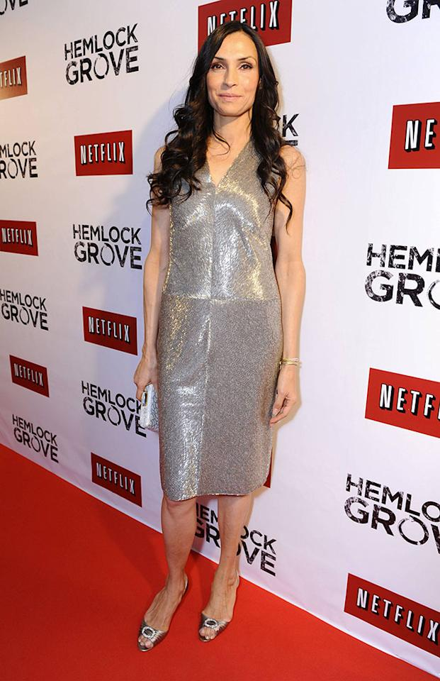 """Famke Janssen arrives at the """"Hemlock Grove"""" North America premiere for Netflix on Tuesday April 16, 2013, in Toronto."""