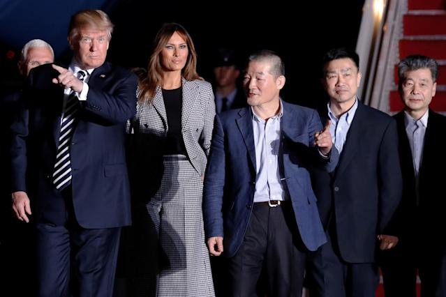 <p>President Donald Trump and first lady Melania Trump meet the three Americans released from detention in North Korea upon their arrival at Joint Base Andrews, Md., May 10, 2018. (Photo: Jonathan Ernst/Reuters) </p>