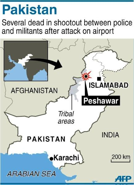 Map of Pakistan locating a shootout between police and militants in Peshawar on December 16, 2012. Six people were killed Sunday as police and troops battled militants armed with automatic weapons, grenades and mortars in northwest Pakistan's Peshawar, a day after a deadly Taliban raid on the city's airport