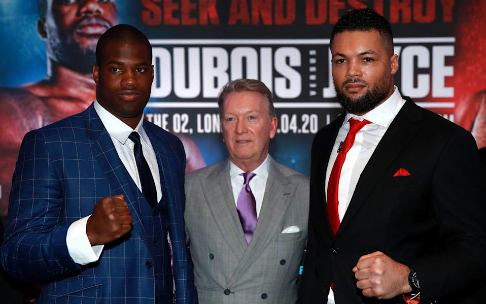 Daniel Dubois (left), Frank Warren (centre) and Joe Joyce during the press conference at BT Tower - PA