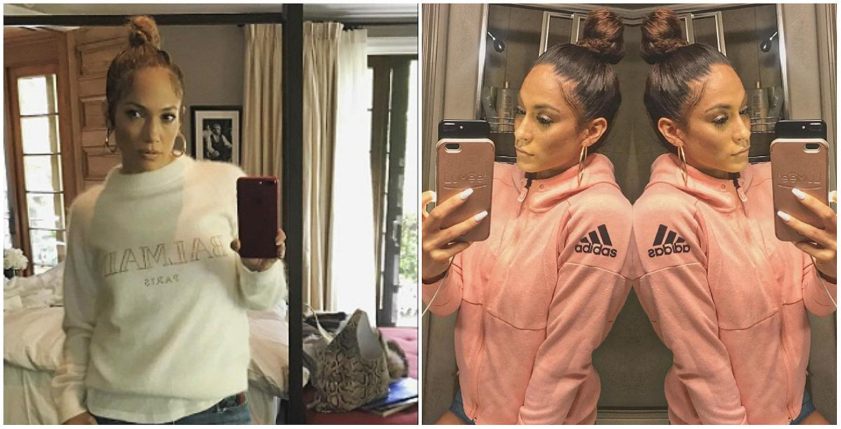 <p>Can you tell who's the real Jenny From The Block? Janice Garay is a MuscleTech athlete who splits her time between Houston and L.A. — and she has the internet doing some serious double takes. (Photos: Instagram) </p>