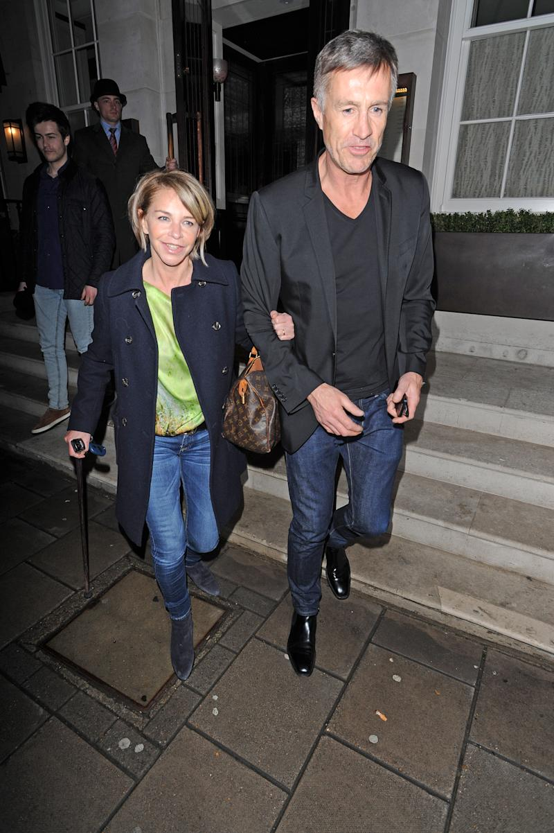 LONDON, UNITED KINGDOM - APRIL 12: Leslie Ash and Husband Lee Chapman sighting leaving 34 Restaurant in Mayfair on April 12, 2013 in London, England. (Photo by Alan Chapman/FilmMagic)