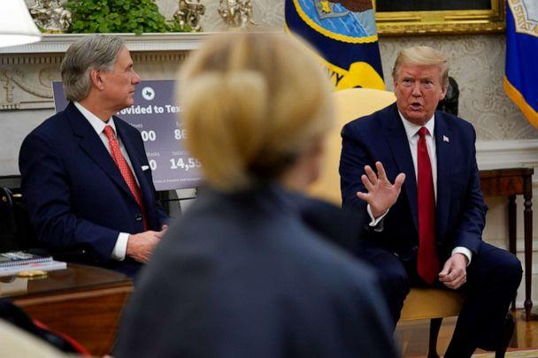 PHOTO: President Donald Trump speaks during a meeting about the coronavirus response with Gov. Greg Abbott in the Oval Office of the White House, May 7, 2020, in Washington. (Evan Vucci/AP)