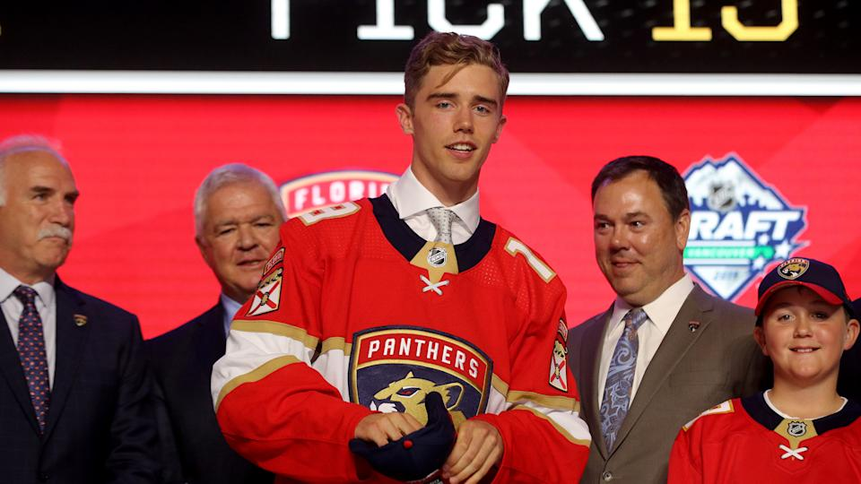 Florida Panthers prospect Spencer Knight should feature as the tournament's best goaltender and lead the United States into medal contention. (Bruce Bennett/Getty Images)