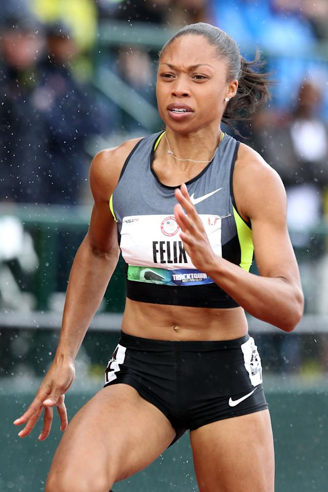 EUGENE, OR - JUNE 23: Allyson Felix competes in the women's 100 meter dash semi-final during Day Two of the 2012 U.S. Olympic Track & Field Team Trials at Hayward Field on June 23, 2012 in Eugene, Oregon.  (Photo by Andy Lyons/Getty Images)