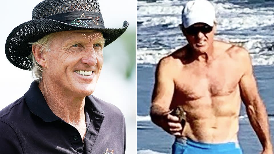 Greg Norman is pictured left at a golfing and enjoying a day at the beach in the image on the right.