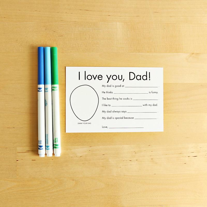 Have your little ones pay their respects to Dad in the form of these fun fill-in-the-blank Father's Day Cards.