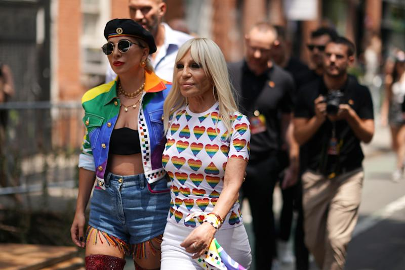 NEW YORK, NEW YORK - JUNE 28: Lady Gaga and Donatella Versace arrive at Pride Live's 2019 Stonewall Day on June 28, 2019 in New York City. (Photo by Gotham/Getty Images for Pride Live)