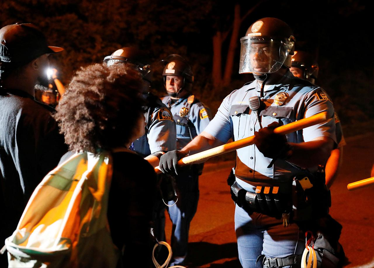 <p>Protester Maya (last name withheld) yells at law enforcement during a gathering on Interstate 94, after a jury found St. Anthony Police Department officer Jeronimo Yanez not guilty of second-degree manslaughter in the death of Philando Castile, at the Minnesota State Capitol in St. Paul, Minnesota, U.S., June 16, 2017. Picture taken June 16, 2017. (Adam Bettcher/Reuters) </p>