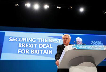 Britain's Secretary of State for Exiting the European Union David Davis addresses the Conservative Party conference in Manchester, Britain October 3, 2017. REUTERS/Phil Noble