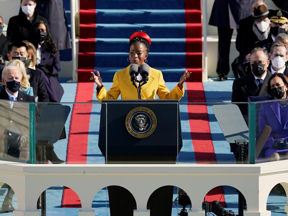 Poet Amanda Gorman reads a poem during the 59th Presidential Inauguration, referencing Biblical scripture and at times echoing the oratory of John F Kennedy and the Rev Martin Luther King JrREUTERS