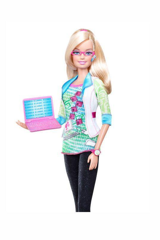 <p>Barbie joins the tech revolution as a computer engineer, complete with a themed shirt. </p>