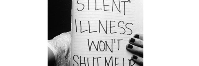 "black and white photo of a woman holding up a sign that says ""my 'silent' illness won't shut me up"""