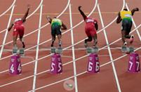A bottle (circled) is thrown onto the track at the start of the Men's 100m Final on Day 9 of the London 2012 Olympic Games at the Olympic Stadium on August 5, 2012 in London, England. (Photo by Adam Pretty/Getty Images)