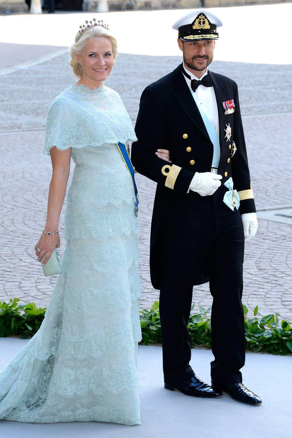 """<p>Høiby was a commoner and single mother who met Crown Prince Haakon of Norway in the late 1990s at the <span class=""""redactor-unlink"""">Quart Festival</span>, Norway's largest music festival. (Yes, apparently even royals love music festivals!) She became Princess Mette-Marit of Norway when the couple wed in 2001. </p>"""