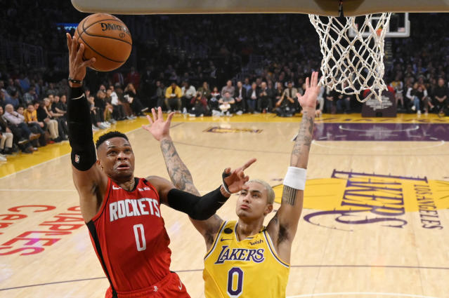 Thanks to a 16-3 run in the final minutes, the Rockets snuck past the Lakers on Thursday night. (AP/Mark J. Terrill)