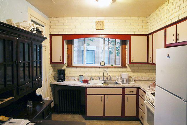 <p>You don't need to have an eye for design to see that this kitchen could use a little love. The wood trimming and elevated cabinets look bulky and the subway tiles have a dingy yellow undertone. </p>