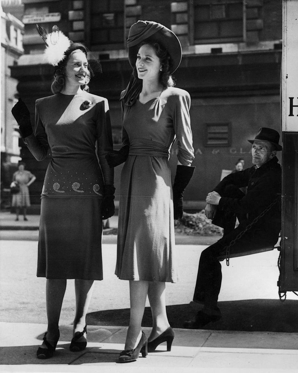 <p>By the mid-'40s, the war was over and fashion became more playful. While the silhouette remained similar to earlier in the decade, ruched fabric, beading, and accessories were being implemented into designs. </p>