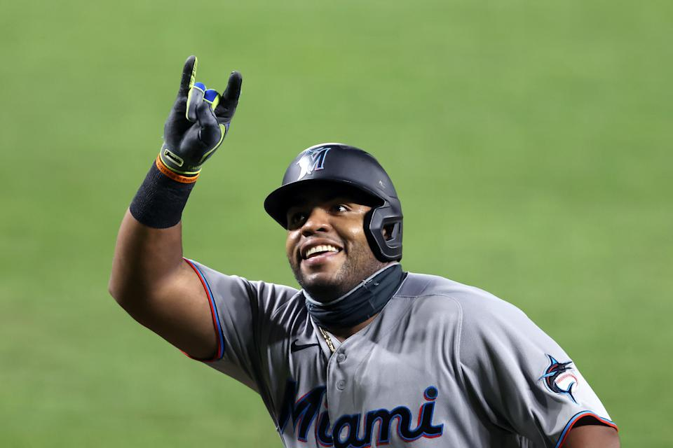 Jesus Aguilar #24 of the Miami Marlins