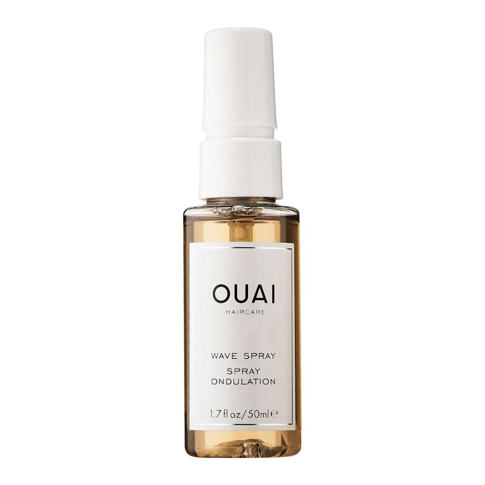 """<p><strong>Ouai</strong></p><p>sephora.com</p><p><a href=""""https://go.redirectingat.com?id=74968X1596630&url=https%3A%2F%2Fwww.sephora.com%2Fproduct%2Fwave-spray-P406665&sref=https%3A%2F%2Fwww.marieclaire.com%2Fbeauty%2Fg36077526%2Fsephora-spring-savings-event-2021%2F"""" rel=""""nofollow noopener"""" target=""""_blank"""" data-ylk=""""slk:SHOP IT"""" class=""""link rapid-noclick-resp"""">SHOP IT </a></p><p><strong><del>$26</del> $20.80 (20% off)</strong></p><p>If you're cool with keeping your hair <em>au naturel,</em> pick up Ouai's Wave Spray. The formula will give your hair that """"fresh from the beach texture"""" while the specialty rice protein will protect your strands. </p>"""