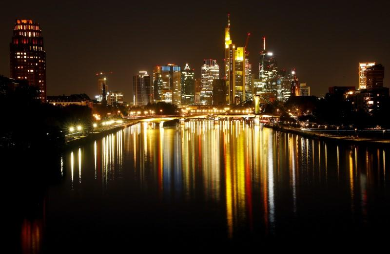 FILE PHOTO: The skyline with its financial district is photographed on early evening in Frankfurt
