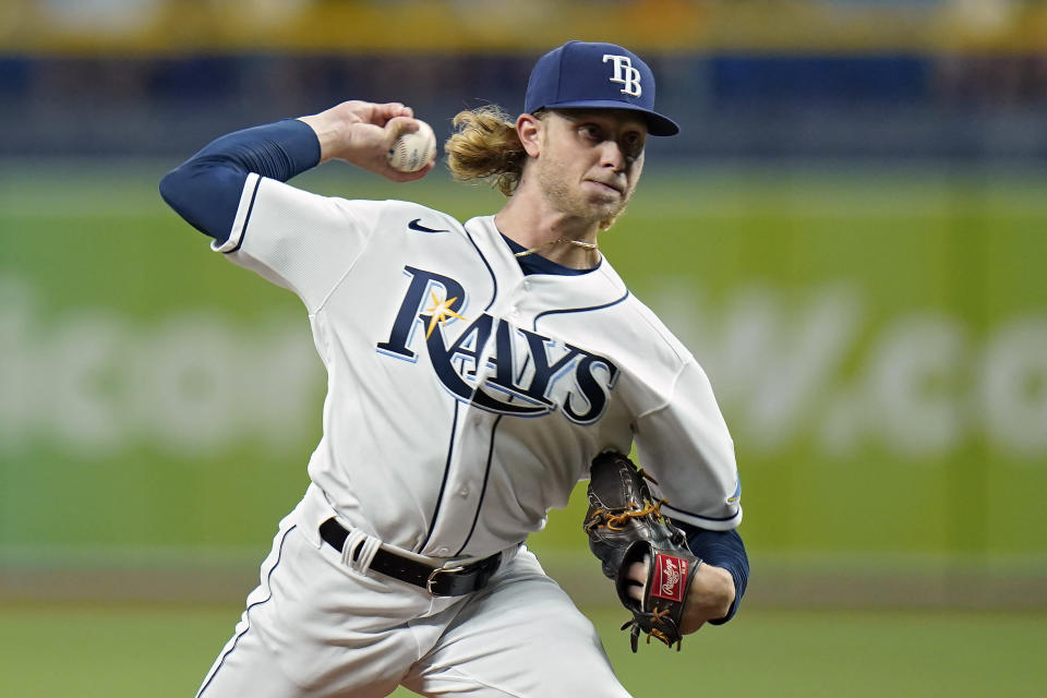 Tampa Bay Rays pitcher Shane Baz delivers to the Toronto Blue Jays during the first inning of a baseball game Monday, Sept. 20, 2021, in St. Petersburg, Fla. (AP Photo/Chris O'Meara)