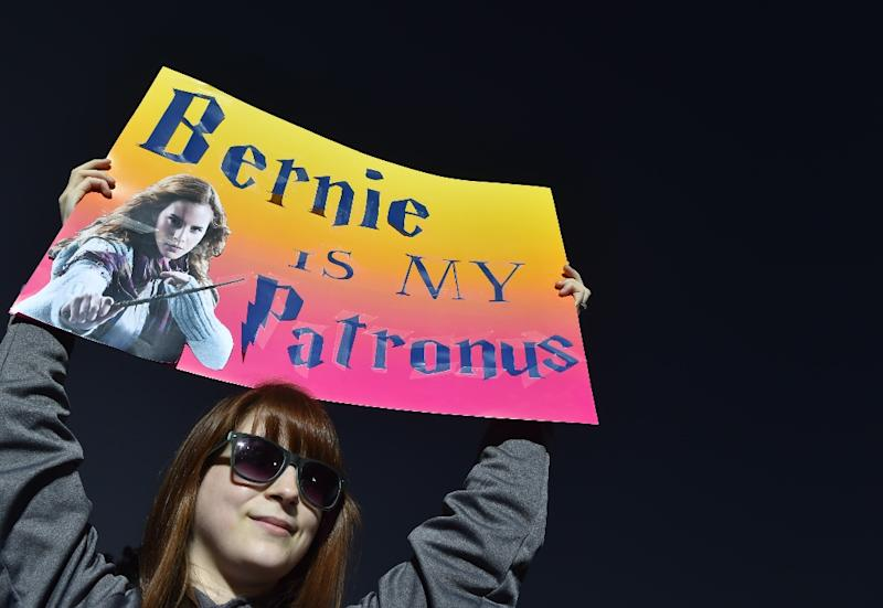 A supporter holds up a banner before a rally for Bernie Sanders in Manassas, Virginia on September 14, 2014 (AFP Photo/Paul J. Richards)