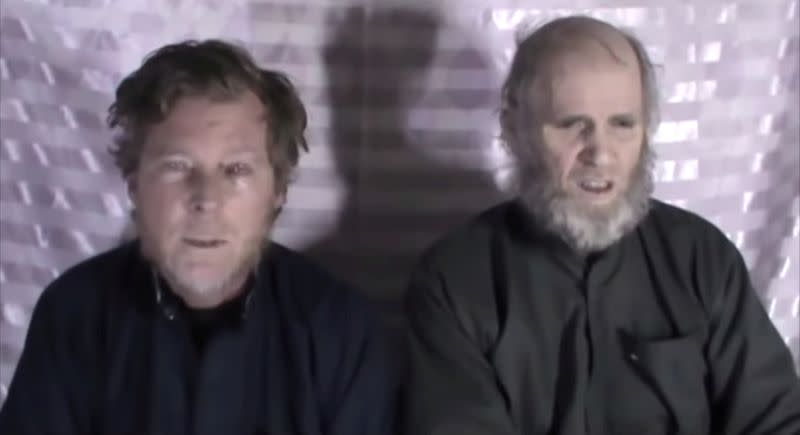 Timothy Weeks and Kevin King speak to the camera while kept hostage by Taliban insurgents in an unknown location, said to be Afghanistan