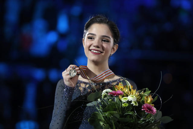 Russia's Evgenia Medvedeva may not compete at the 2018 Winter Olympics due to the IOC ban on Russia. (AP Photo)