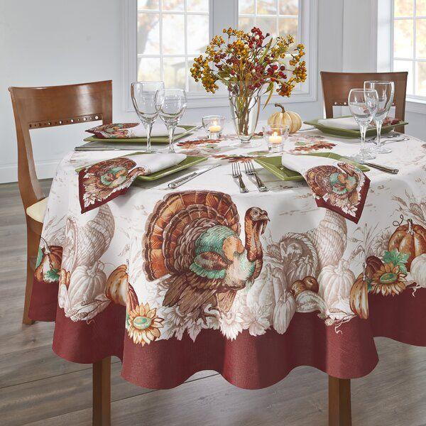 """<p><strong>The Holiday Aisle\u00ae</strong></p><p>wayfair.com</p><p><strong>$22.90</strong></p><p><a href=""""https://go.redirectingat.com?id=74968X1596630&url=https%3A%2F%2Fwww.wayfair.com%2Fkitchen-tabletop%2Fpdp%2Fthe-holiday-aisle-monterey-turkey-bordered-fall-tablecloth-w001881846.html&sref=https%3A%2F%2Fwww.womansday.com%2Flife%2Fg33660033%2Fthanksgiving-tablecloths%2F"""" rel=""""nofollow noopener"""" target=""""_blank"""" data-ylk=""""slk:Shop Now"""" class=""""link rapid-noclick-resp"""">Shop Now</a></p><p>If you want to go full-out on the Thanksgiving theme, you'd be hard pressed to find a tablecloth that screams """"Thanksgiving!"""" more than this one. </p>"""