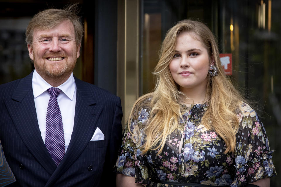 AMSTERDAM, NETHERLANDS - MAY 12: King Willem-Alexander of The Netherlands and Princess Amalia of The Netherlands attend the concert Queen Maxima a life full of Music on the occasion of her 50th birthday in theater Carre on May 12, 2021 in The Hague, Netherlands. (Photo by Patrick van Katwijk/WireImage)