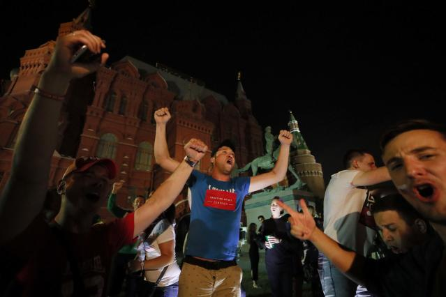 Soccer Football - World Cup - Group A - Russia vs Egypt - Moscow, Russia June 20, 2018 Russian fans celebrate after the match. REUTERS/Maxim Shemetov
