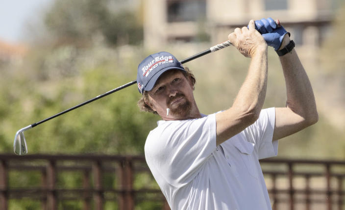 Tim Petrovic hits off the third tee during the second round of the 2021 Cologuard Classic golf tournament at the Omni Tucson National Resort on Saturday, Feb. 27, 2021. (Rick Wiley/Arizona Daily Star via AP)