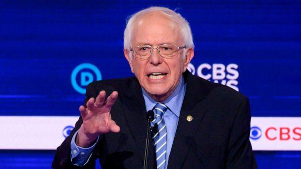 PHOTO: Democratic presidential hopeful Bernie Sanders participates in the tenth Democratic primary debate at the Gaillard Center in Charleston, South Carolina, Feb. 25, 2020. (Jim Watson/AFP via Getty Images)
