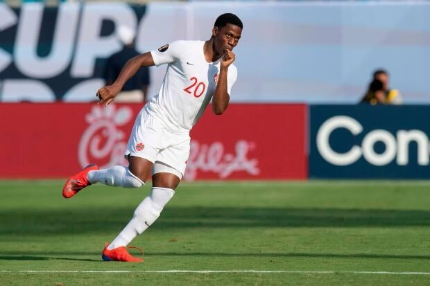 Canada forward Jonathan David celebrates after scoring during a CONCACAF Gold Cup match against Cuba in 2019. (Jim Watson/AFP via Getty Images - image credit)