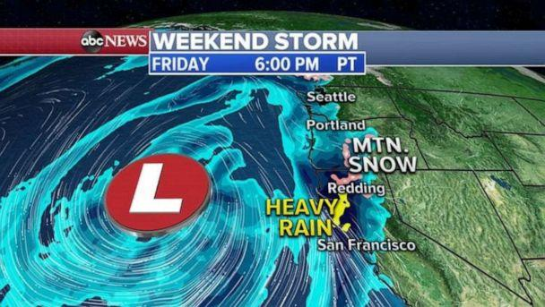 PHOTO: Weekend storm Friday 6 p.m. (ABC News)