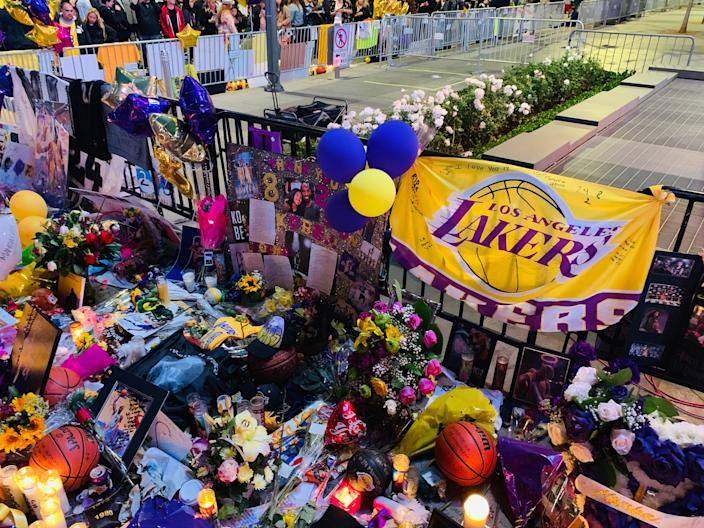 Scenes from the Kobe Bryant memorial outside Staples Center in downtown Los Angeles.