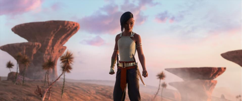 """CORRECTS CHARACTER NAME - Animated character Namaari, voiced by Gemma Chan, appears in a scene from """"Raya and the Last Dragon."""" (Disney+ via AP)"""
