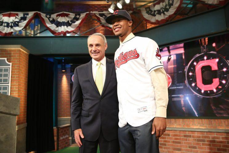 Rob Manfred is being patient with the Indians and Chief Wahoo. (Getty Images/Alex Trautwig)